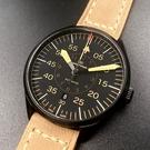 星晴錶業-WAKMANN威克曼男女通用錶,編號WA00001,42mm黑錶殼,咖啡色錶帶款