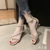一字扣細跟涼鞋 高跟女2019夏季新款韓版時尚亮鉆氣質包跟鞋子 FR12367『男人範』