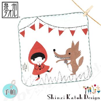 【クロワッサン科羅沙】日本毛巾~加藤真治故事系列~小紅帽花狼手帕手帕23x23cm