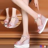 貝貝居 楔型涼鞋 韓版 高跟 鬆糕跟 魚嘴坡跟 涼鞋 防水臺