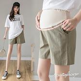 孕婦裝 MIMI別走【P61793】加高升級 棉麻透氣高腰孕婦短褲 四色好好穿推薦
