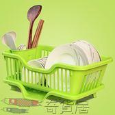 廚房瀝水碗架帶蓋碗筷餐具收納盒放碗碟滴水碗盤置物架柜角架籃藍【奇貨居】