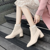 襪子靴女20202秋新款高跟鞋靴子尖頭彈力靴粗跟中筒飛織短靴女潮