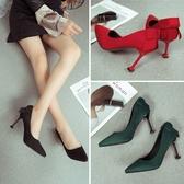 鞋子女新款細跟淺口鞋尖頭鞋單鞋顯貓跟女鞋蝴蝶結高跟鞋女 享購
