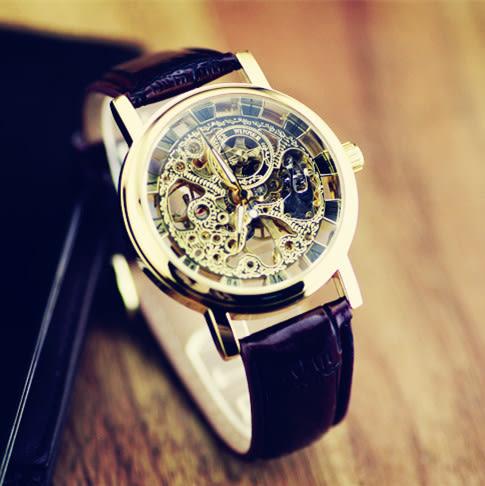 韓版經典復古手錶男士鏤空機械錶英倫時尚夜光時裝錶透底皮帶男錶【時尚家居館】