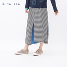 a la sha 不對稱拼接棉質條紋長裙...