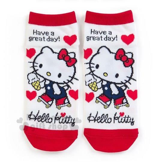 〔小禮堂〕Hello Kitty 成人及踝襪《紅白.溜冰.愛心》短襪.隱形襪.23-25公分 4901610-16642