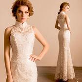洋裝禮服 蕾絲掛脖露背魚尾新娘白色旗袍禮服婚禮晚宴年會敬酒服 巴黎春天