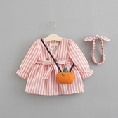 嬰幼兒秋裝連身裙女童0-3歲女寶寶純棉長裙小女孩洋氣豎條秋季裙Mandyc