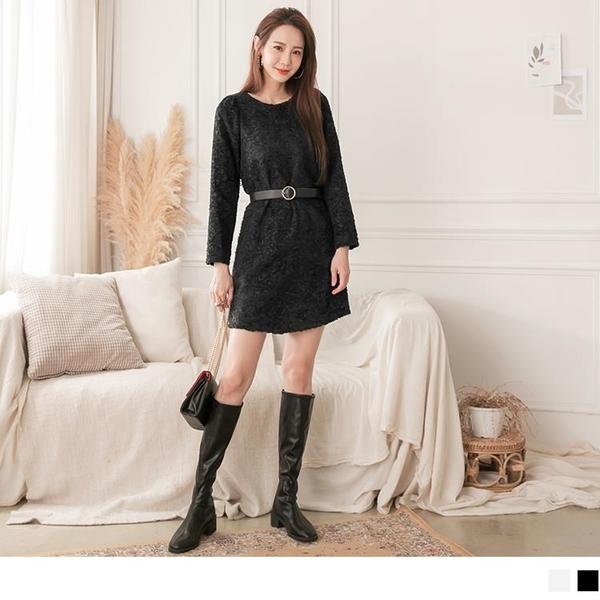 《DA8165-》高雅純色立體織紋毛呢口袋洋裝 OB嚴選