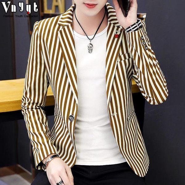 西裝外套男男士韓版西裝青年休閒修身型小西裝潮流條紋西服個性上衣春季外套 衣間迷你屋
