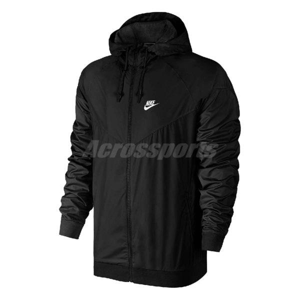 Nike 連帽外套 Nsw Windrunner 風行者 長袖 風衣 男款 素面 黑色【PUMP306】 727325-010