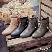 amai X字皮帶金屬釦環素面短靴 黑