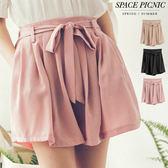 褲裙 Space Picnic|現貨.綁帶式邀鬆緊素面褲裙【C18061013】
