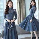 針織洋裝  蕾絲連身裙秋冬女新款長款修身顯瘦長袖氣質過膝打底裙 df6001【大尺碼女王】