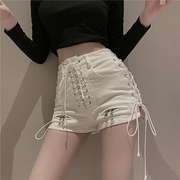 牛仔短褲 高腰拉鏈綁帶早春季新款時尚氣質修身顯瘦熱褲女裝 - 巴黎衣櫃