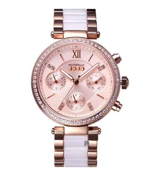NATURALLY JOJO 奢華 JO96973-13R 三眼晶鑽錶