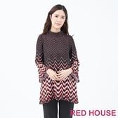 【RED HOUSE 蕾赫斯】喇叭袖幾何上衣(共2色)