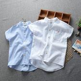 男童短袖襯衫夏季 兒童純色純棉半袖襯衣立