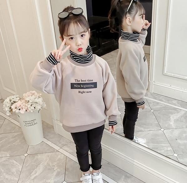 衣童趣(•‿•)韓版女童 假兩件長袖上衣 百搭字母印花 條紋配色T恤 保暖加厚上衣【現貨】