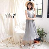 東京著衣-多色細肩帶壓摺裙襬洋裝-S.M(180653)