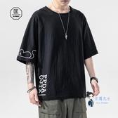 棉麻上衣 夏季日系印花中國風亞麻短袖t恤男加肥大碼寬鬆胖子棉麻半袖上衣 4色