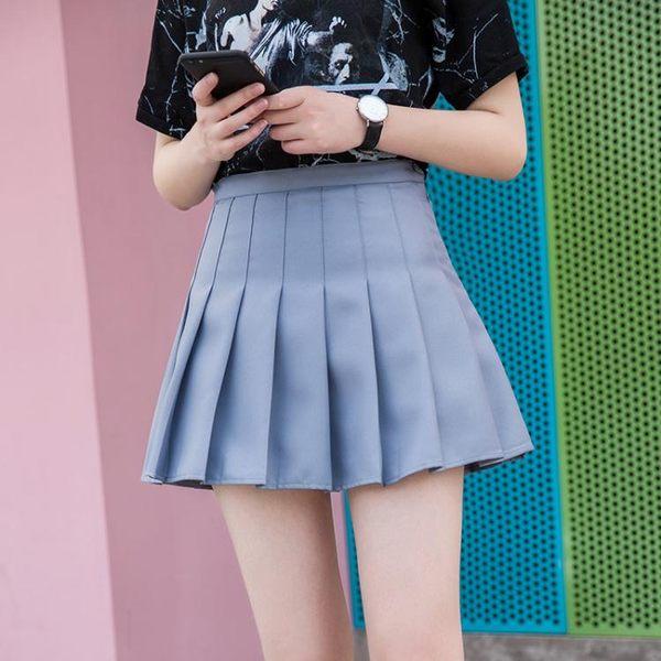 正韓白色百褶裙半身裙短裙 夏季新款學生高腰網球裙A字褲裙女夏 免運直出 交換禮物