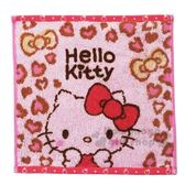 〔小禮堂〕Hello Kitty 純棉無捻紗小方巾《粉灰.豹紋》25x25cm.手帕.丸真毛巾 4992272-68049