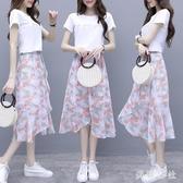 碎花連身裙兩件套女2020年夏季新款收腰顯瘦流行氣質雪紡洋裝 LF3500『美鞋公社』