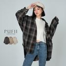 PUFII-襯衫 學院風復古格紋排釦襯衫...