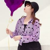 Poly Lulu 俏皮滿版愛心微透膚襯衫-紫【91040072】
