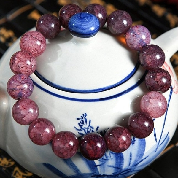 深茶紫 12mm爆花水晶手環念珠(附開光證明)