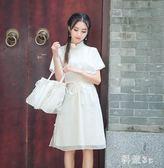 中大尺碼夏日國風少女漢元素三色薄紗茉莉刺繡 假兩件旗袍洋裝 GW364【科炫3c】