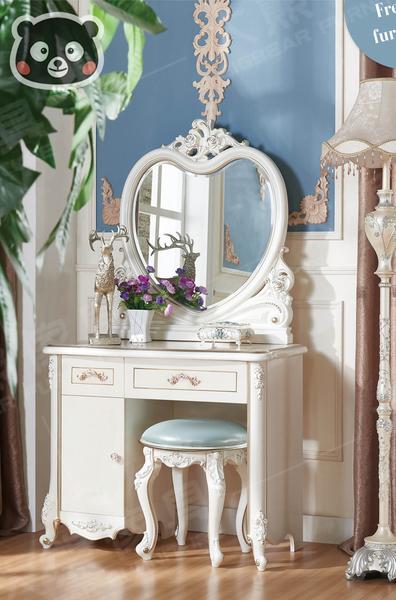 【大熊傢俱】1C 1106 法式 化妝台 雕花 鏡台 愛心鏡台 櫥櫃 歐式 韓式 新古典 另售床架 床頭櫃