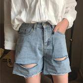 牛仔短褲 胖MM200斤高腰牛仔短褲寬松顯瘦破洞毛邊牛仔闊腿熱褲 巴黎春天