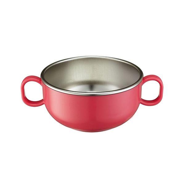 美國Innobaby 不銹鋼雙耳兒童餐碗-蜜桃粉