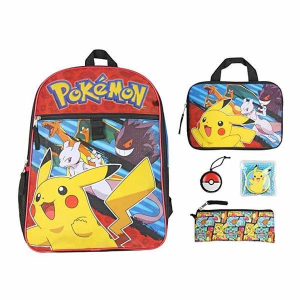 Pokemon 寶可夢 皮卡丘書包餐袋5件組 Backpack School Supplies Pikachu Accessories [9美國直購]