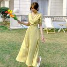 洋裝 名媛縮腰連身裙-媚儷香檳-【D1834】