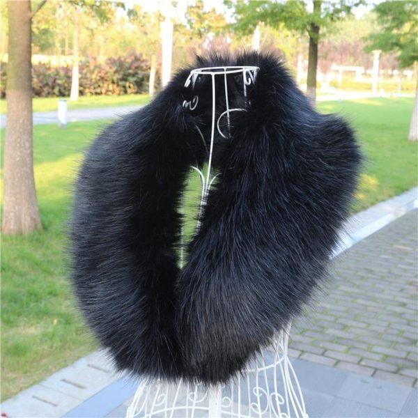 秋冬男女仿皮草狐貍毛毛領子韓版保暖仿貉子毛假領子圍巾披肩 藍嵐