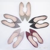 大尺碼女鞋尖頭平底鞋酒紅黑色百搭40秋鞋41單鞋42大碼女鞋43cp888【甜心小妮童裝】