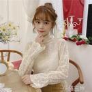 蕾絲上衣春季韓版半高領內搭白色爆米花蕾絲衫女長袖網紗打底上衣特賣
