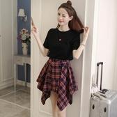 裙子女2020新款夏裝韓版小個子短裙初中學生小清新兩件套裝洋裝 韓語空間