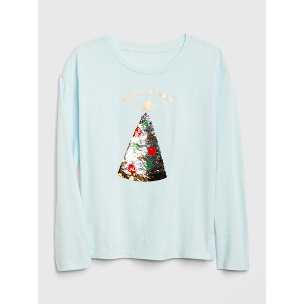Gap女童柔軟趣玩圖案長袖T恤520379-霧淺綠色