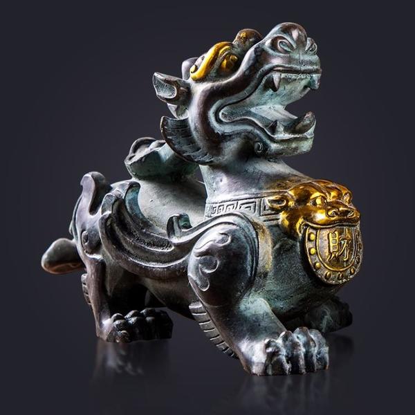 異麗純銅貔貅納財擺件 新中式家居裝飾品 客廳辦公