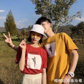 情侶裝夏裝新款氣質短袖T恤男女bf風寬鬆學生潮半袖   糖糖日系森女屋