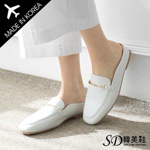 [現貨]韓國空運 正韓製 簡約一字金飾飾釦 OL風時尚穆勒鞋【F713232】版型偏小 / SD韓美鞋