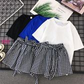 YoYo 休閒運動套裝女 兩件式格子短褲短袖套裝 3色(S-2L)【AB1040】