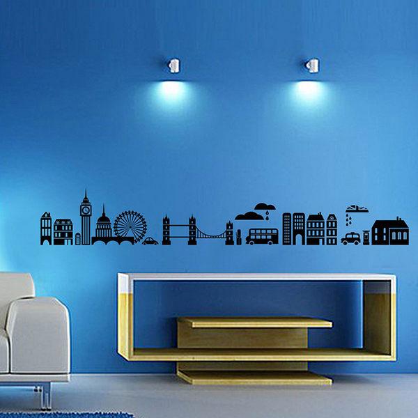 無痕 時尚組合壁貼 牆貼 壁貼紙 創意璧貼 城市風光剪影 現代風 工業風《YV2658》HappyLife