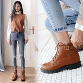 丁果、大尺碼女鞋34-43►學院風明星款繫帶扣帶環中跟馬丁靴短靴子*3色