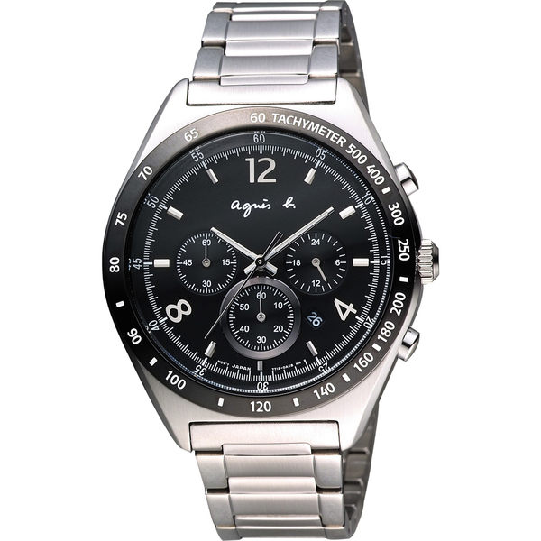 agnes b. 宇宙星馳視距儀計時腕錶-黑/42mm 7T12-0AP0D(BW8001P1)